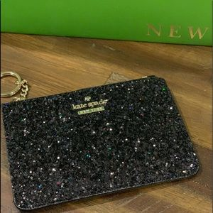 🆕Kate spade black glitter wallet with gold chain